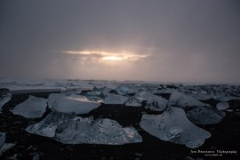 Ice at Jökulsarlon black beach