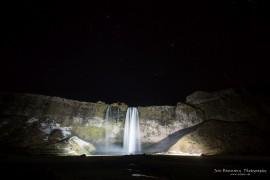Seljalandsfoss iluminated at night