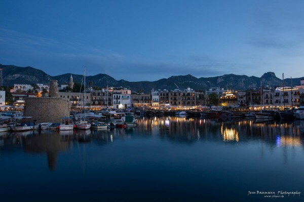 Girne harbour by night